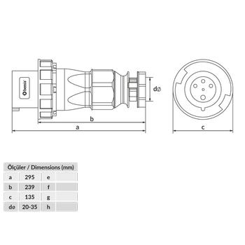 4x125A Düz Fiþ Pilotlu IP67 BC1-6504-7011