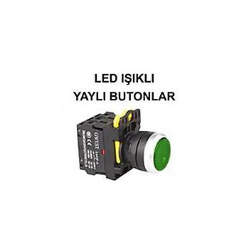 220V 1NO  Yeþil Led Iþýklý Yaylý Start Buton  A5-10D