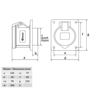 4x63A Makine Priz Pilotlu IP44 BC1-4504-2413