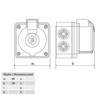 1x16A Monofaze Plastik Duvar Prizi BP1-1402-2510