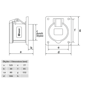 5x63A Makine Priz Pilotlu IP44 BC1-4505-2413