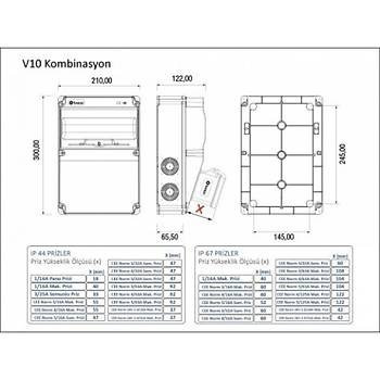 5x63A 3P+E+N 380V 50-60Hz 6H IP67 Pilotlu Düz Fiþ