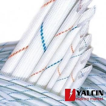 10 mm Beyaz Üzeri Çizgili Cam Elyaf Makaron