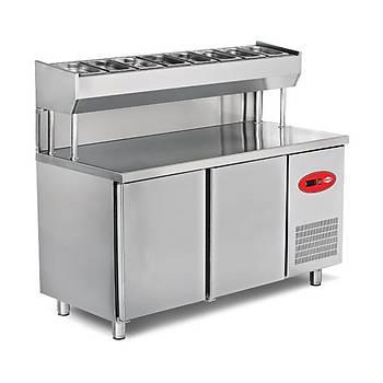 EMPERO - Y�ksek Ayakl� Makeup - Pizza Ve Salata Haz�rl�k Dolab� 2 Kap�l� (150x80x85/105 Cm)