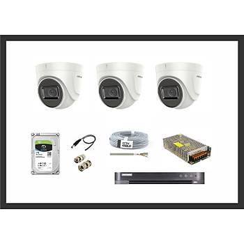Hikvision 2MP Lite HDTVI Ev Bebek Bakýcý Ýzleme 3 Kamera Sistemleri Güvenlik Seti