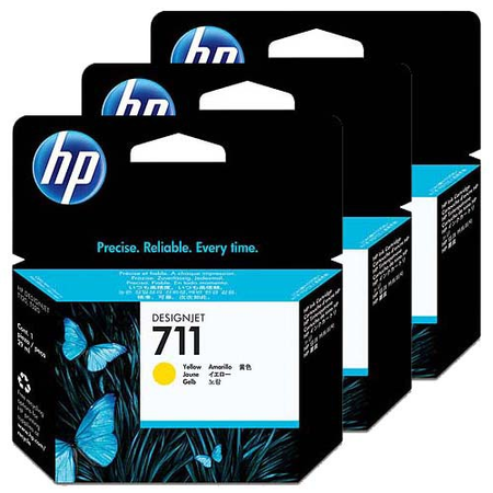 HP CZ136A 711 SARI KARTUÞ - HP Designjet T120 - T520 Orjinal Sarý Kartuþ 3lu Paket