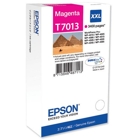 Epson T7013 Kartuþ, Epson T7013XXL Orjinal Magenta Kartuþ