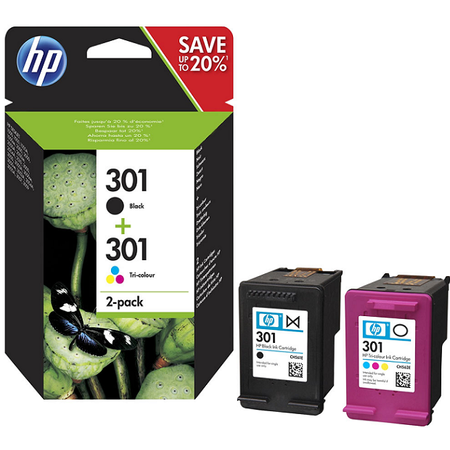 HP N9J72AE 301 2Li Paket Orjinal Multipack Siyah Renkli Kartuþ