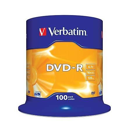 Verbatim 43549 DVD-R 100 Spindle Matt Silver 16x 4.7GB