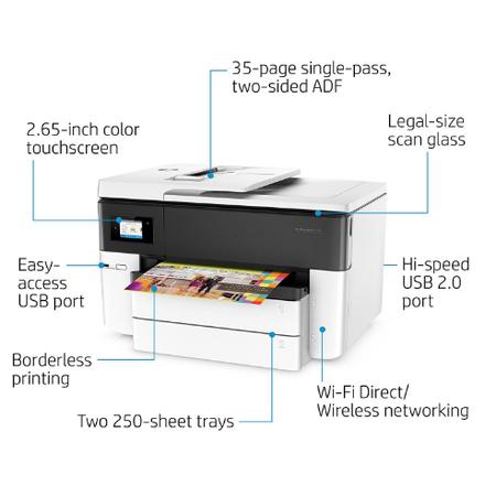 HP G5J38A OfficeJet Pro 7740 A3 Renkli Yazýcý - Fotokopi - Tarayýcý - Faks