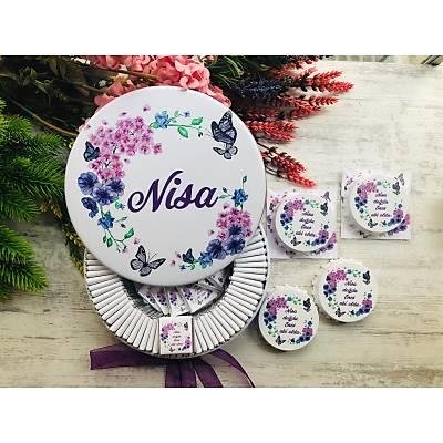 Çiçek ve Kelebek Temalý Çikolata+Açacaklý Magnet Set