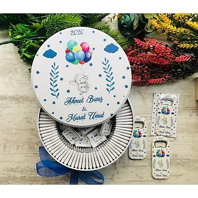 Fil ve Uçan Balon Temalý Çikolata+Açacaklý Magnet Set