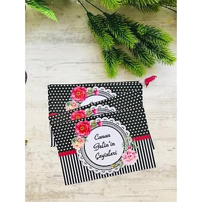 Siyah Çiçekli Çeyiz Etiketi