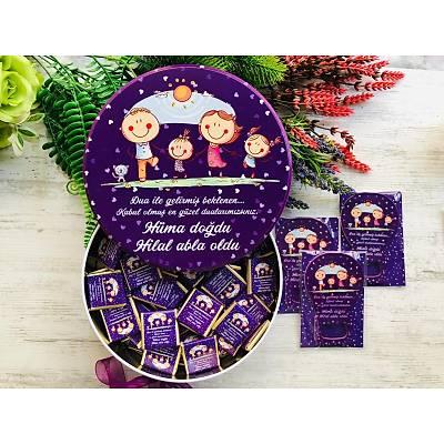 Mutlu Aile Temalý Çikolata+Açacaklý Magnet Set