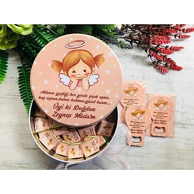 Küçük Melek Temalý Çikolata+Açacaklý Magnet Set