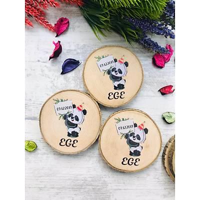Panda Temalý  Kütük Bardak Altlýðý