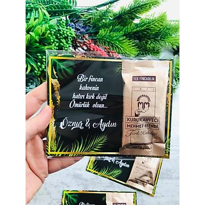 Siyah-Yeþil Çiçekli Hediyelik Kahve Paketi