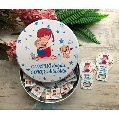 Abla Erkek Kardeþ Temalý Çikolata+Açacaklý Magnet Set