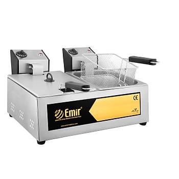 Emirmakine Büfe Tipi 8+8 Litre Elektrikli Fritöz Makinesi 1-Kalite