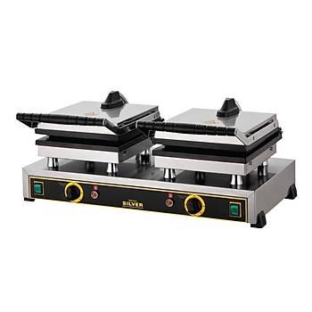 Iþýkgaz Silver Çiftli Waffle Makinesi Kare