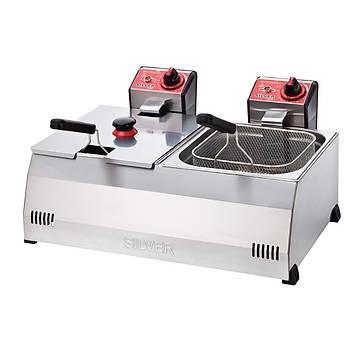 Silver 8+8 Litre Elektrikli Fritöz Makinesi