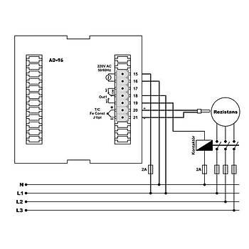 AD-96 230VAC 96x96mm J Tipi (Fe-Const) Analog Ayarlı Dijital Göstergeli Isı Kontrol Cihazı TENSE