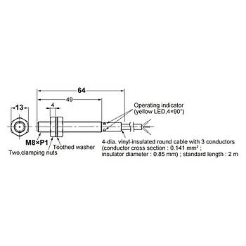 E2B-S08LS02-WP-B1 2M M8 PNP/NO 2mm Algılama İndüktif Sensör OMRON