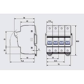 10x38mm 1P Monofaze Kartuş Sigorta Yuvası 485101 DF