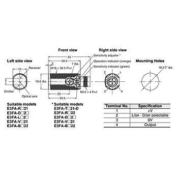 E3FA-DP23 M18 PNP M12 Konnektörlü 100cm Cisimden Yansımalı Fotosel OMRON