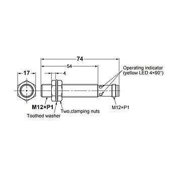E2B-M12LS04-M1-B1 M12 PNP/NO 4mm Algılama M12 Konnektörlü İndüktif Sensör OMRON