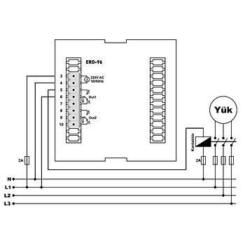 ERD-96 Fonksiyonel 96x96mm Dijital Zaman Rölesi TENSE