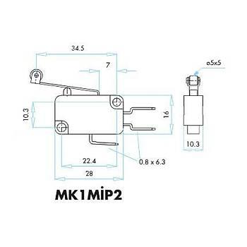 MK1MİP2 Uzun Kollu Plastik Makaralı Mikro Siviç EMAS