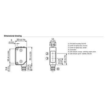 WL100-P3409 (6 036 511) 6m Algılamalı Reflektörlü PNP M12 Konektörlü Fotosel SICK
