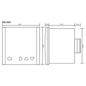 ERD-96M 8 Farklı Çalışma Modlu 96x96mm Dijital Zaman Rölesi TENSE