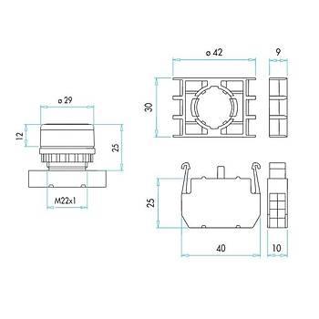 B100FY 22mm 1NA Kontaklı Kalıcı Start Butonu (Yeşil) EMAS