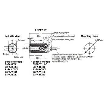 E3FA-LP12 2M M18 PNP Arka Plan Bastırmalı 20cm Cisimden Yansımalı Fotosel OMRON
