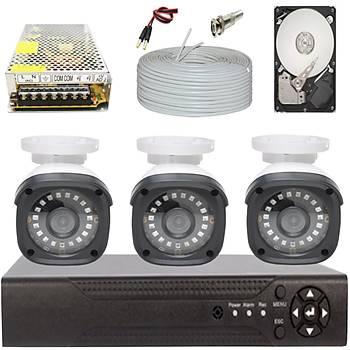Elitcam 5.0 Megapixel Lensli ( 3 ) Kameralý Full Paket Güvenlik Sistemi Hdd Dahil