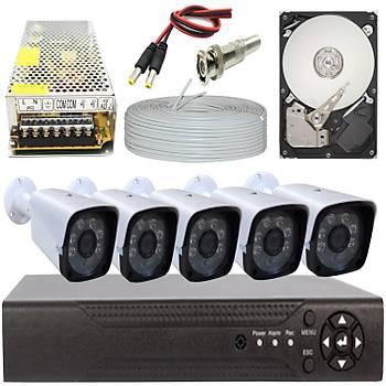 Elitcam 5.0 Megapixel Lensli ( 5 ) Kameralý Full Paket Güvenlik Sistemi Hdd Dahil
