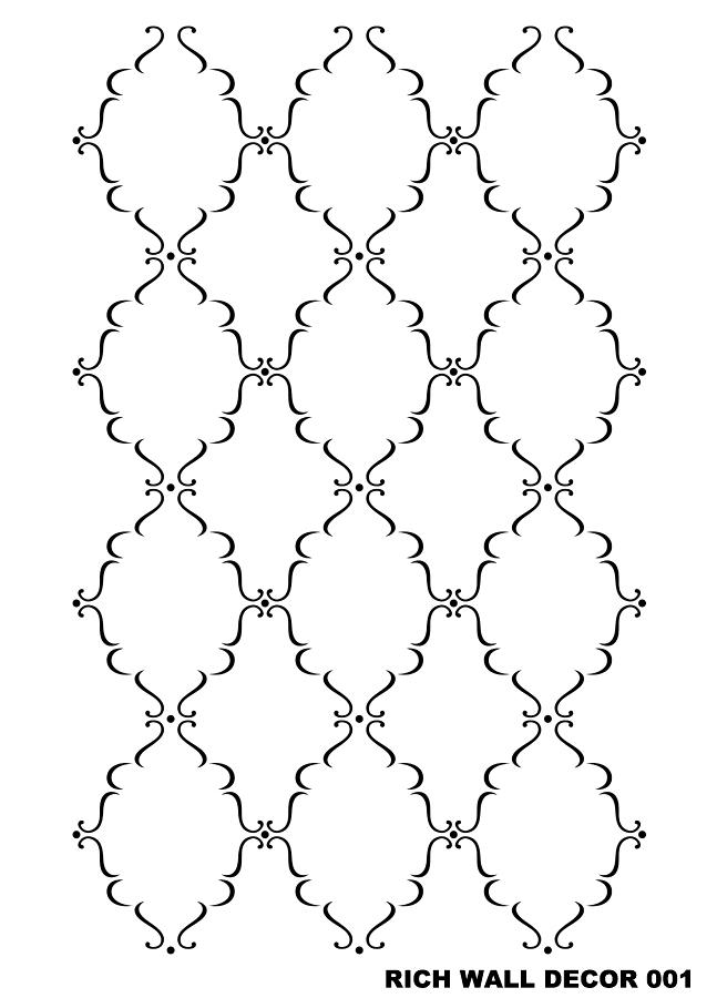 En Ucuz Rich Wall 001 Duvar Desen Stencıl Kolay Boyama şablonu