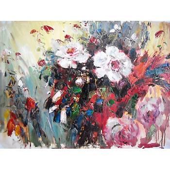 Çiçek Bahçesi -1 50 cm X 70 cm Ebatlarýnda Yaðlýboya Resim