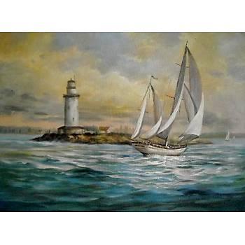 Deniz Fenerindeki Yelkenli 50 cm X 70 cm Ebatlarýnda Yaðlýboya Resim
