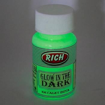 Rich 50 ML  3000 Natural Yeþil Karanlýkta Parlayan (Glow In The Dark ) Hayalet Boya