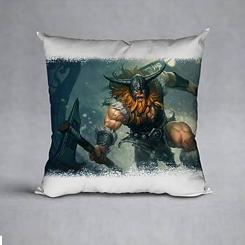 League Of Legends Olaf Baskýlý Yastýk (ELYAF DOLGULU)