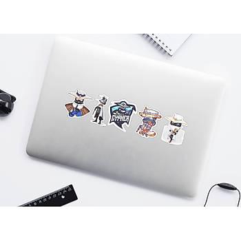 Valorant: Cypher 5'li  Set Halinde Yapýþkanlý Sticker (Laptop ve Telefon Uyumlu)