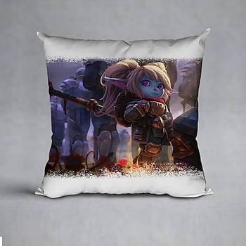 League Of Legends Poppy Baskýlý Yastýk (ELYAF DOLGULU)
