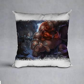 League Of Legends Gragas Baskýlý Yastýk (ELYAF DOLGULU)