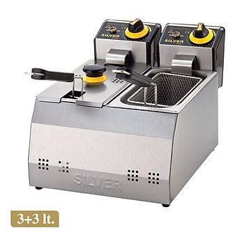 Silver 3+3 Litre Elektrikli Fritöz Makinesi