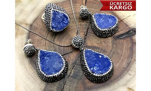 Lapis Lazuli Taþlý Markazit Bezeli 925 Ayar Otantik Gümüþ Üçlü Set