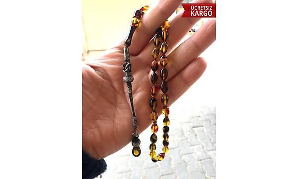 Sarý Siyah Hareli 1000 Ayar KazazÝye Püskülü Ateþ Kehribar Tesbih