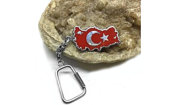 Ýki Taraflý Ayyýldýz & Türkiye Yazýlý 925 Ayar Gümüþ Anahtarlýk (STOK KODU:20171369)